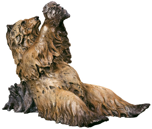 Bruin Brunch Grizzly Bear Original Bronze Sculpture by Jerry McKellar