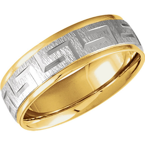 18k Yellow Gold and Platinum Greek Key Wedding Band
