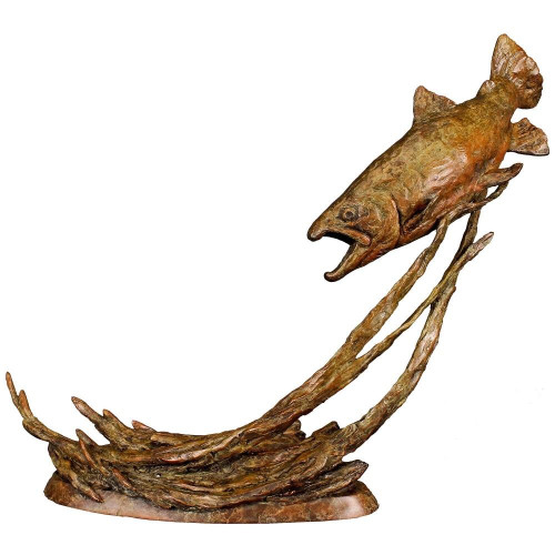 Out of the Shadows Brown Trout Original Bronze Sculpture by Ott Jones
