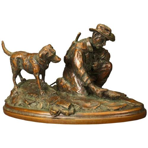 Riverside Rendezvous Fisherman and Dog Original Bronze Sculpture by Ott Jones