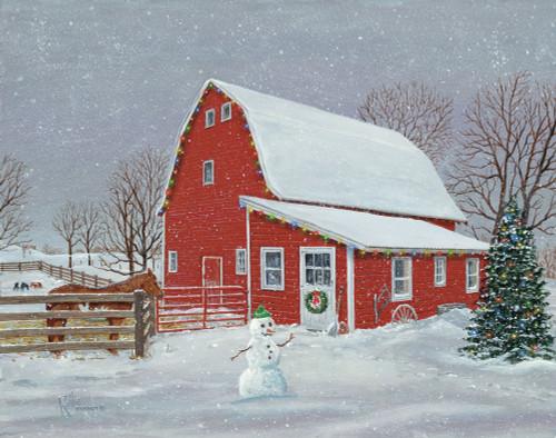 Barnyard Christmas Original Acrylic Painting by Rollie Brandt