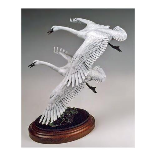 Wings on a Wave Swans Original Bronze Sculpture by Frank Divita