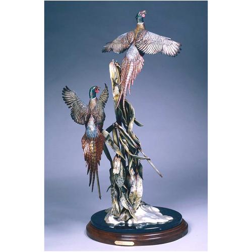 Winter Harvest Pheasants Original Bronze Sculpture by Frank Divita