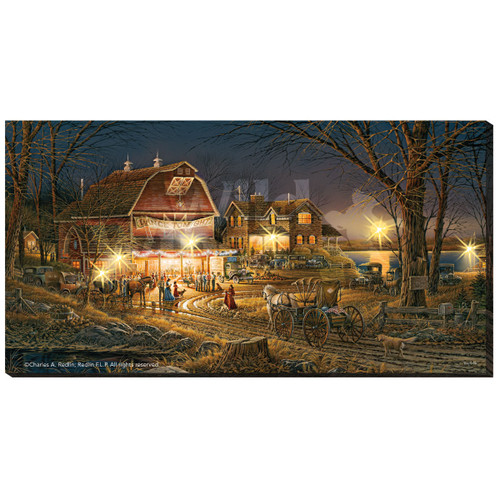 Harvest Moon Ball Lighted Wrapped Canvas by Terry Redlin