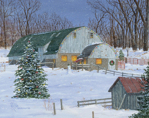 Silent Night Barn Original Acrylic Painting by Rollie Brandt