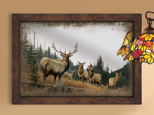 Royal Mist Elk Large Decorative Mirror by Rosemary Millette