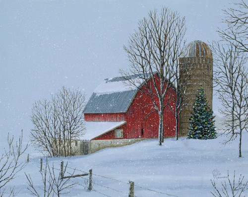 Christmas Vacation Barn Original Acrylic Painting by Rollie Brandt