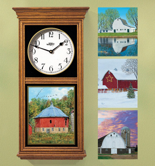 Seasonal Barns Regulator Clock with Set of 4 Images by Rollie Brandt