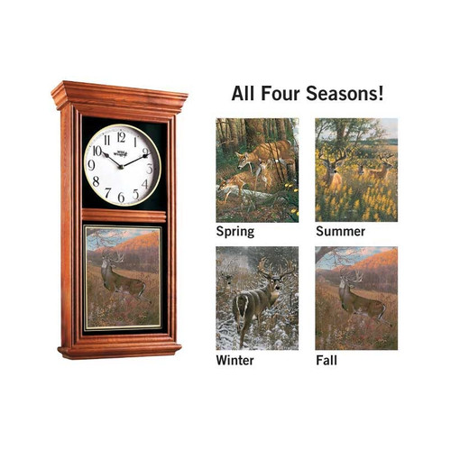 Oak Regulator Clock with Set of 4 Deer Images by Michael Sieve