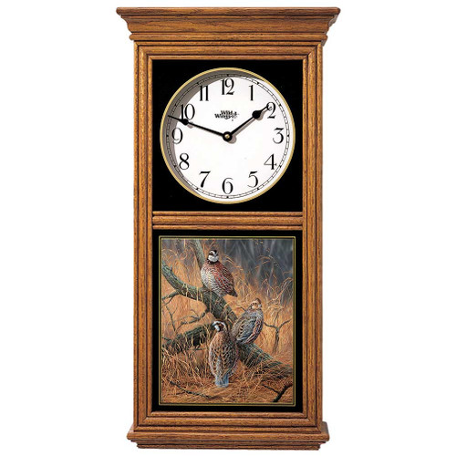 Oak Regulator Clock Late Season Solitude Bobwhite Quail by Rosemary Millette