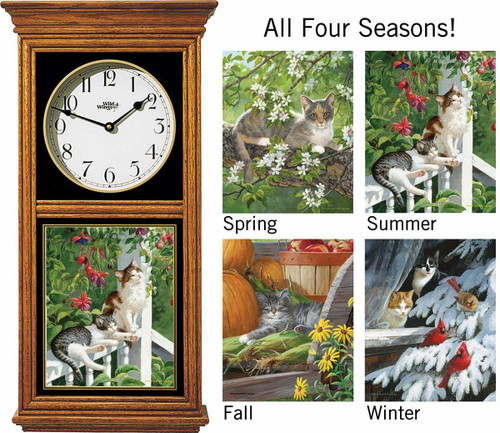 Cats in All Seasons Oak Regulator Clock by Persis Clayton Weirs