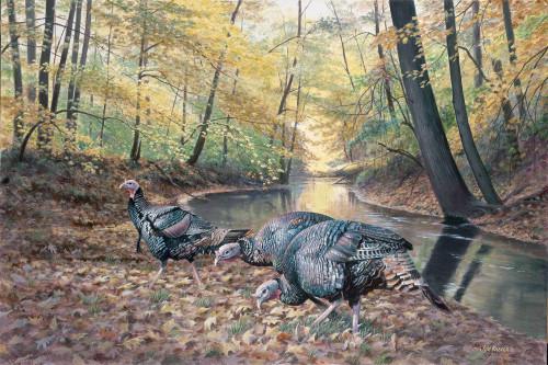 Acorn Hunters Turkeys Original Acrylic Painting by Jim Kasper