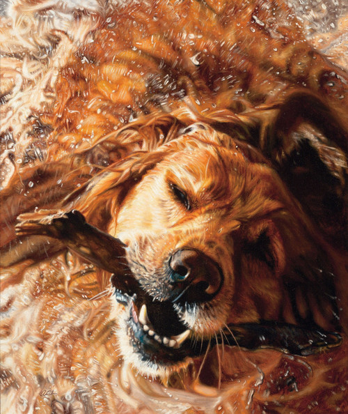All Shook Up Golden Retriever Original Acrylic Painting by John Aldrich