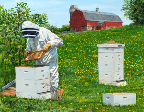 All the Buzz Bee Farm Original Acrylic Painting by Rollie Brandt