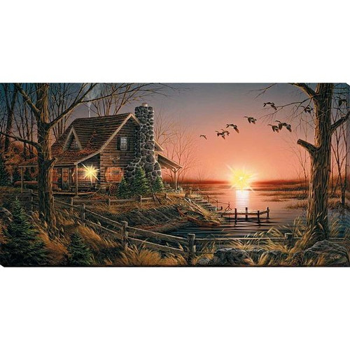 Comforts of Home Lighted Wrapped Canvas Print by Terry Redlin