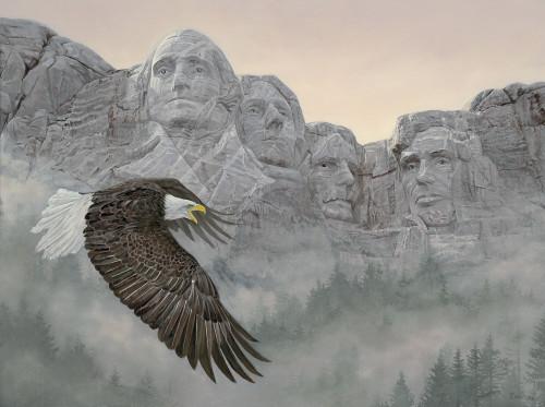 American Splendor Bald Eagle Original Acrylic Painting by Jon Ren