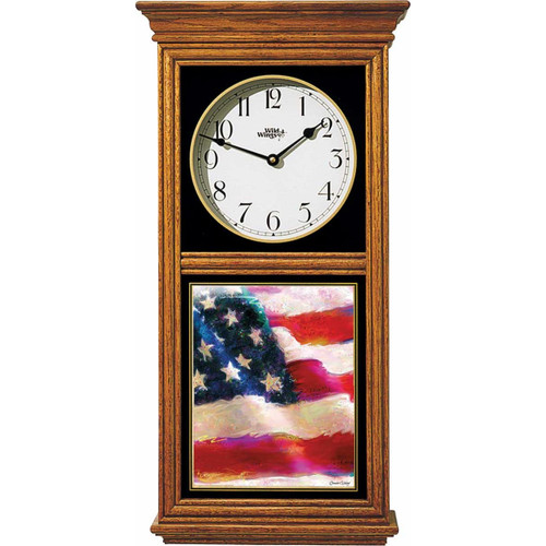 American Flag Oak Regulator Clock by Connie Haley