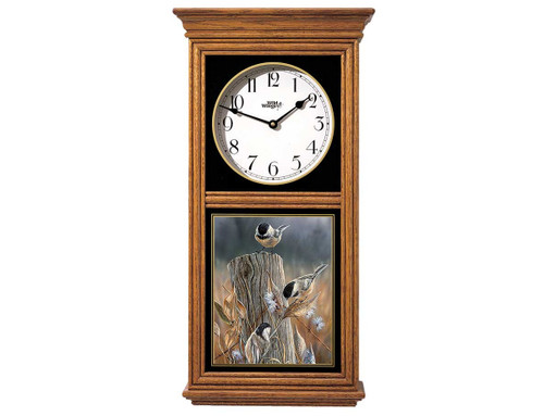 Chickadees Oak Regulator Clock by Rosemary Millette