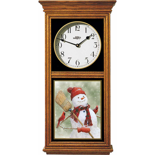 Snowman and Cardinals Oak Regulator Clock by Ned Young
