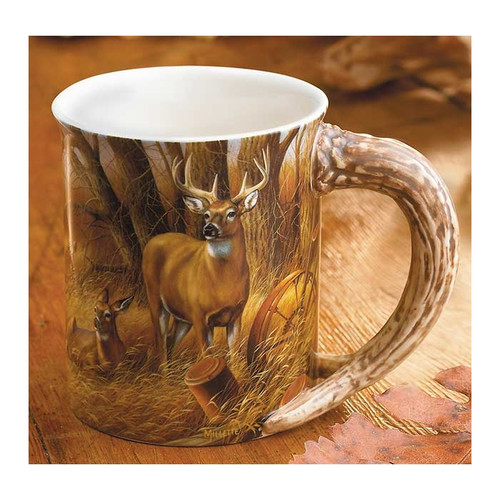 Rustic Retreat Whitetail Deer Sculpted Coffee Mug Set of 4 by Rosemary Millette