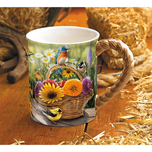 Summer Bouquet Songbirds Sculpted Coffee Mug Set of 4 by Rosemary Millette