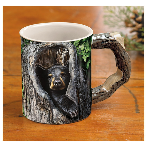 Cubby Hole Black Bear Sculpted Coffee Mug Set of 4 by Jon Ren