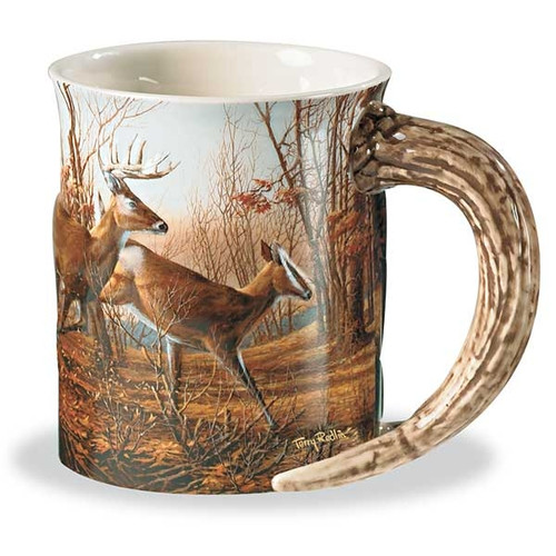 Autumn Run Whitetail Deer Sculpted Coffee Mugs Set of 4 by Terry Redlin