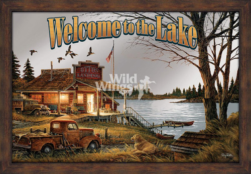 Welcome to the Lake Framed Mirror by Terry Redlin