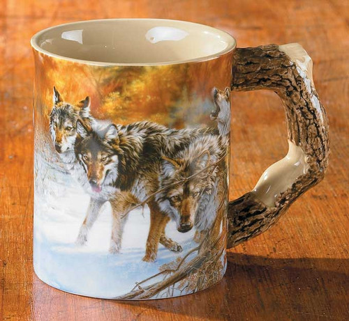 Body Language Wolves Set of 4 Sculpted Coffee Mugs by Lee Kromschroeder