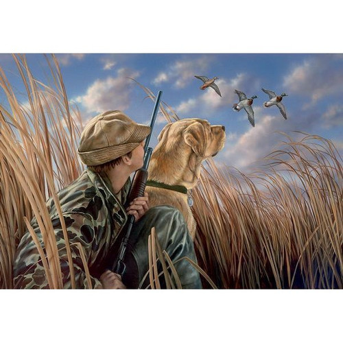 Anticipation, Boy, Lab and Mallards Original Acrylic Painting by Rosemary Millette