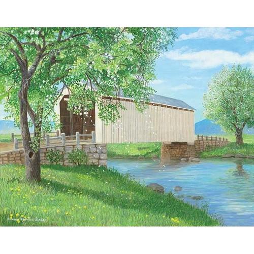 Apple Blossom Bridge Original Acrylic Painting by Susan Knowles Jordan