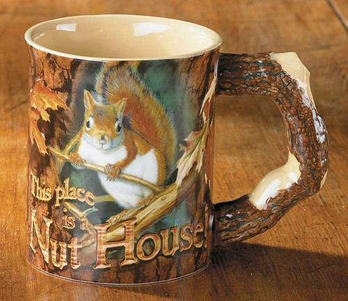 This Place is a Nut House Squirrel Set of 4 Sculpted Coffee Mugs by Mia Lane