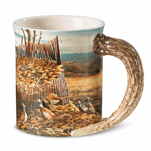 Sharing the Bounty Pheasants Set of 4 Sculpted Coffee Mugs by Terry Redlin