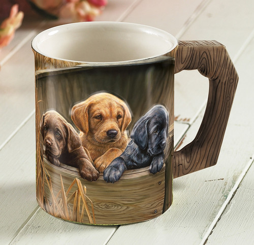 All Hands on Deck Lab Pups Set of 4 Sculpted Coffee Mugs by Rosemary Millette