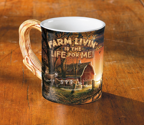 Farm Livin' is the Life for Me Set of 4 Sculpted Coffee Mugs by Terry Redlin