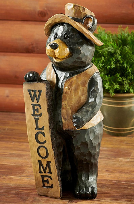 Bear Welcome Sign Tabletop Sculpture
