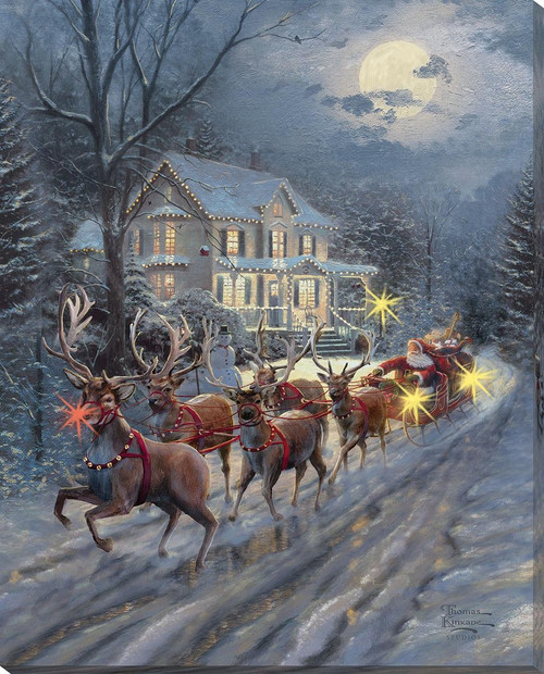 Here Comes Santa Claus Lighted Wrapped Canvas by Thomas Kinkade Sudios