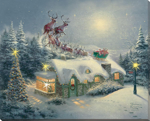Dash Away All Lighted Wrapped Canvas by Thomas Kinkade Studios
