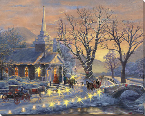 Holiday Evening Sleigh Ride Lighted Wrapped Canvas by Thomas Kinkade Studios