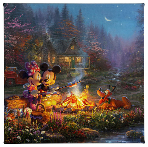 Mickey and Minnie Sweetheart Campfire Gallery Wrapped Canvas by Thomas Kinkade Studios