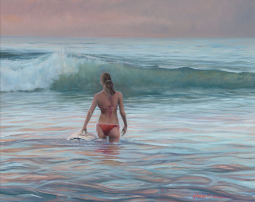 Surfer Girl Original Oil Painting by Tom Wosika