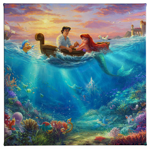 Little Mermaid Falling in Love Gallery Wrapped Canvas by Thomas Kinkade Studios