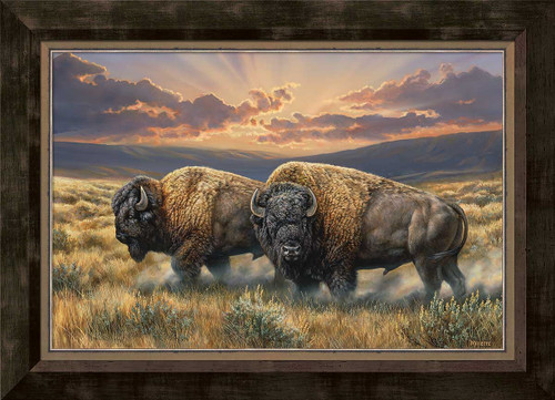 Dusty Plains Bison Framed Gallery Canvas by Rosemary Millette