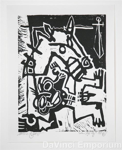 Mark T Smith Fallen Rider Signed Linocut Block Print
