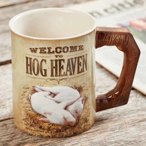 Welcome to Hog Heaven Set of 4 Sculpted Coffee Mugs by Persis Clayton Weirs