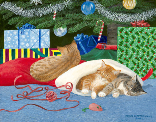 Santa's Helpers Cats Original Acrylic Painting by Persis Clayton Weirs