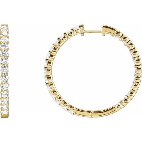 Lab Grown Diamond Inside Outside Hinged Hoop Earrings