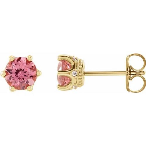 Pink Tourmaline and Diamond Crown Stud Earrings