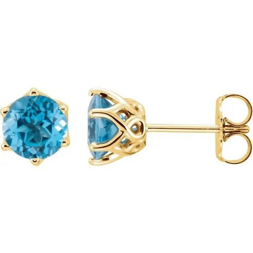 Six Prong Topaz Crown Stud Earrings in 14k Gold