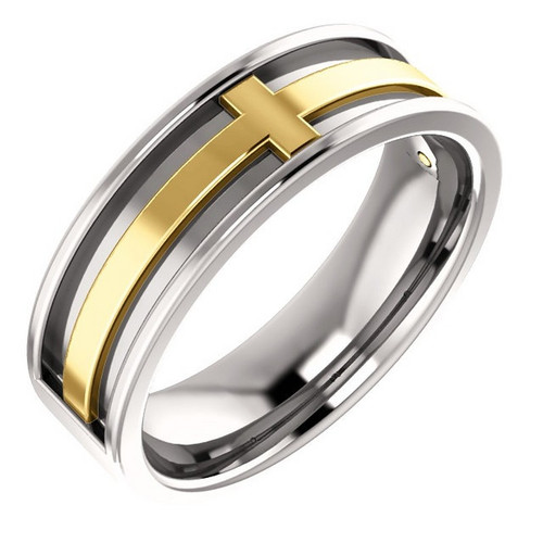 6MM Cross Wedding Band in Platinum and 18k Gold